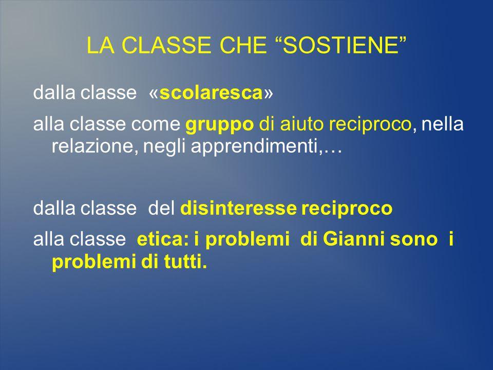 """LA CLASSE CHE """"SOSTIENE"""" dalla classe «scolaresca» alla classe come gruppo di aiuto reciproco, nella relazione, negli apprendimenti,… dalla classe del"""