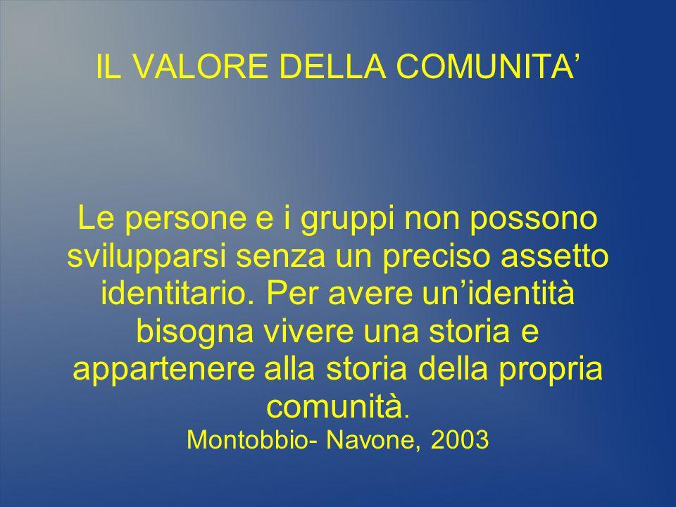IL VALORE DELLA COMUNITA' Le persone e i gruppi non possono svilupparsi senza un preciso assetto identitario. Per avere un'identità bisogna vivere una