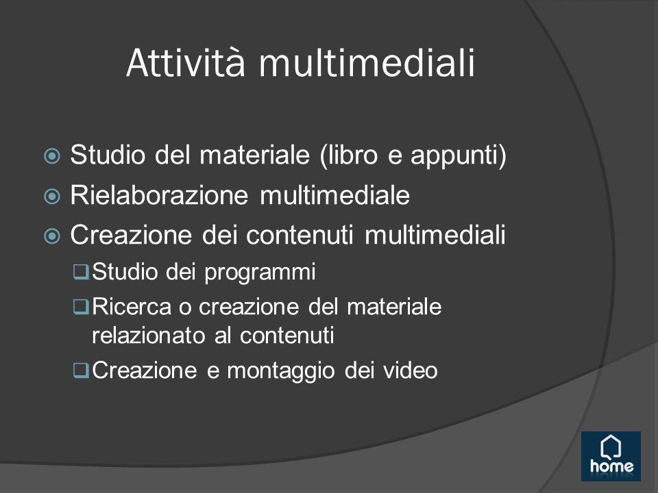 Attività multimediali  Studio del materiale (libro e appunti)  Rielaborazione multimediale  Creazione dei contenuti multimediali  Studio dei programmi  Ricerca o creazione del materiale relazionato al contenuti  Creazione e montaggio dei video
