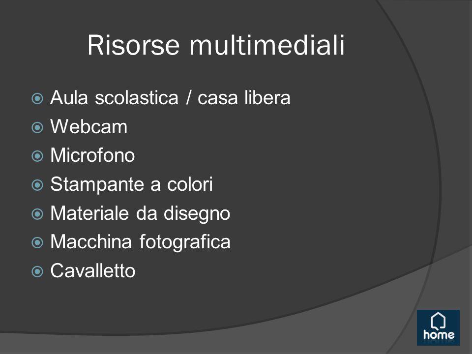 Risorse multimediali  Aula scolastica / casa libera  Webcam  Microfono  Stampante a colori  Materiale da disegno  Macchina fotografica  Cavalletto