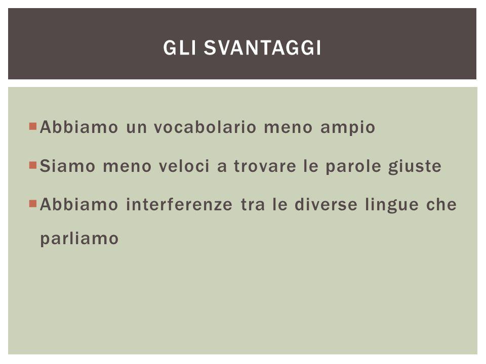  Abbiamo un vocabolario meno ampio  Siamo meno veloci a trovare le parole giuste  Abbiamo interferenze tra le diverse lingue che parliamo GLI SVANTAGGI