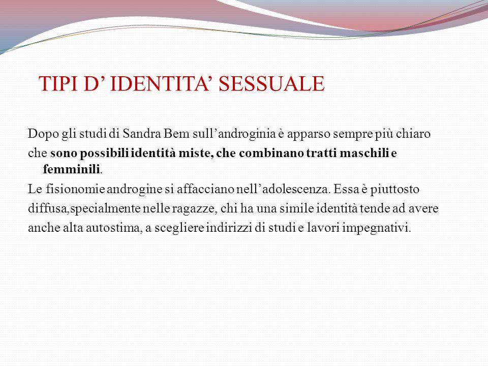 TIPI D' IDENTITA' SESSUALE Dopo gli studi di Sandra Bem sull'androginia è apparso sempre più chiaro che sono possibili identità miste, che combinano tratti maschili e femminili.