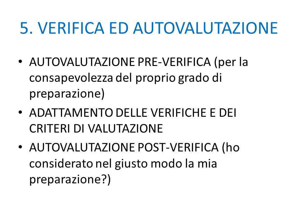 5. VERIFICA ED AUTOVALUTAZIONE AUTOVALUTAZIONE PRE-VERIFICA (per la consapevolezza del proprio grado di preparazione) ADATTAMENTO DELLE VERIFICHE E DE