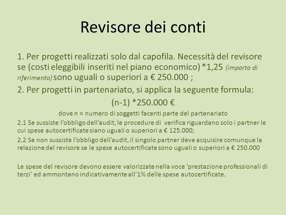 Revisore dei conti 1. Per progetti realizzati solo dal capofila. Necessità del revisore se (costi eleggibili inseriti nel piano economico) *1,25 (impo