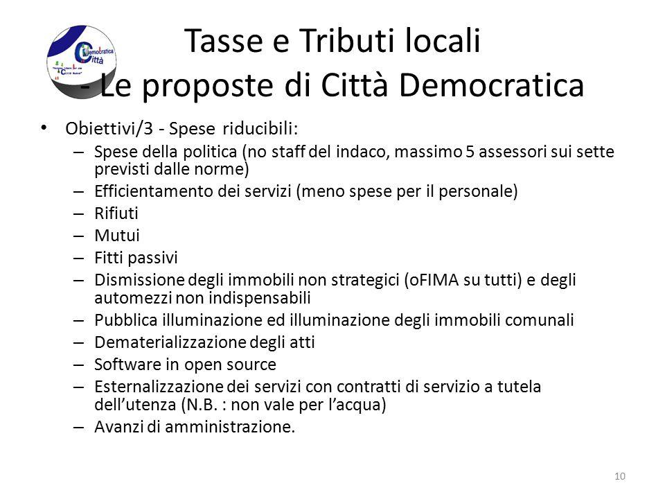 Tasse e Tributi locali - Le proposte di Città Democratica Obiettivi/3 - Spese riducibili: – Spese della politica (no staff del indaco, massimo 5 asses