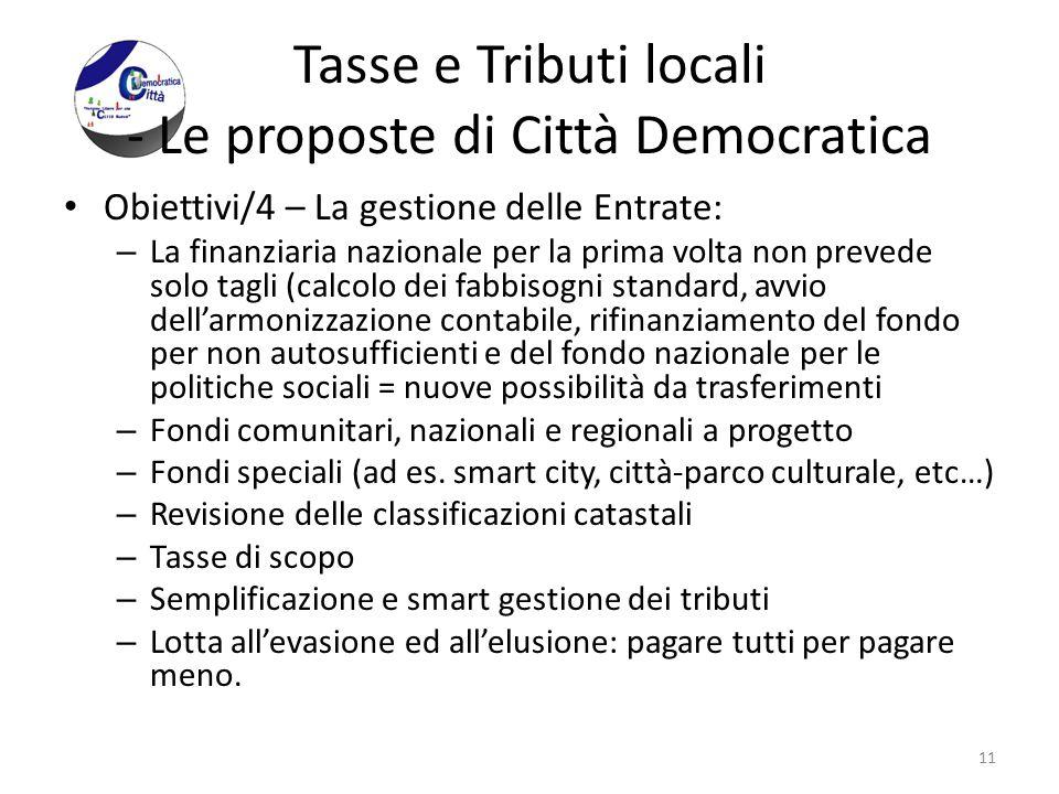 Tasse e Tributi locali - Le proposte di Città Democratica Obiettivi/4 – La gestione delle Entrate: – La finanziaria nazionale per la prima volta non p