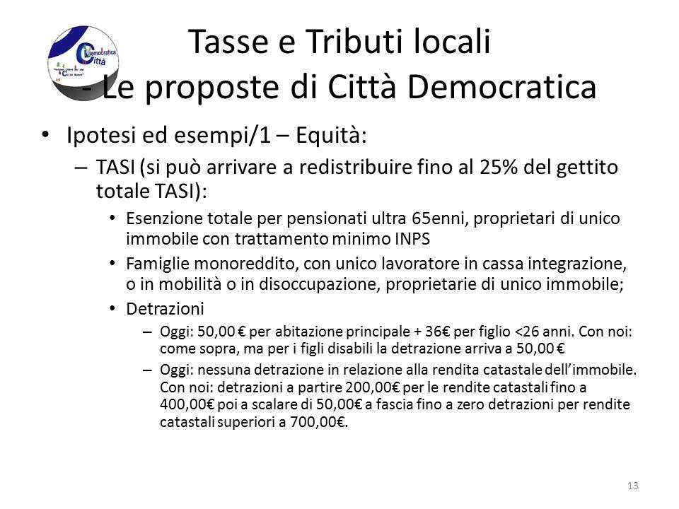 Tasse e Tributi locali - Le proposte di Città Democratica Ipotesi ed esempi/1 – Equità: – TASI (si può arrivare a redistribuire fino al 25% del gettit