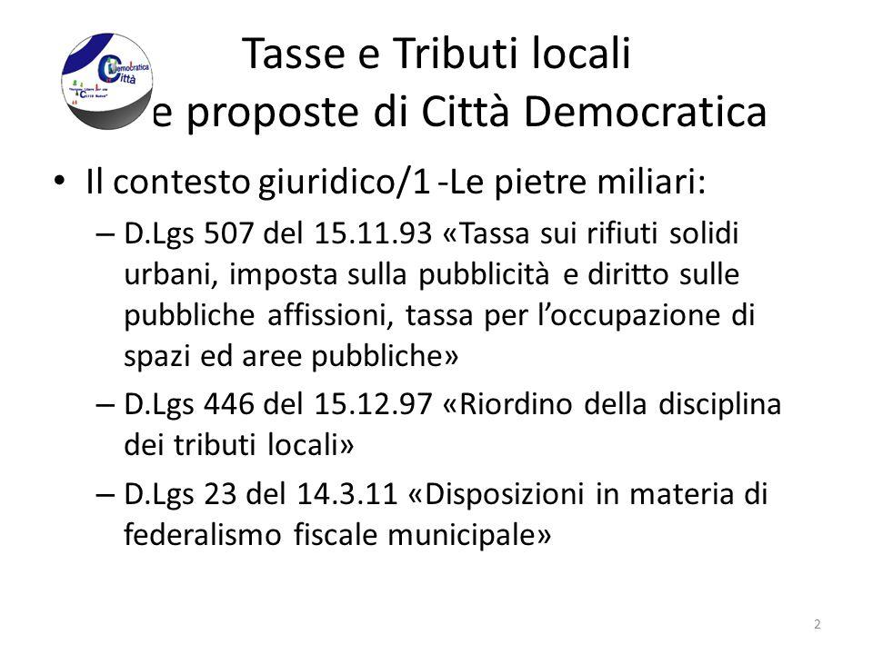 Tasse e Tributi locali - Le proposte di Città Democratica Il contesto giuridico/1 -Le pietre miliari: – D.Lgs 507 del 15.11.93 «Tassa sui rifiuti soli