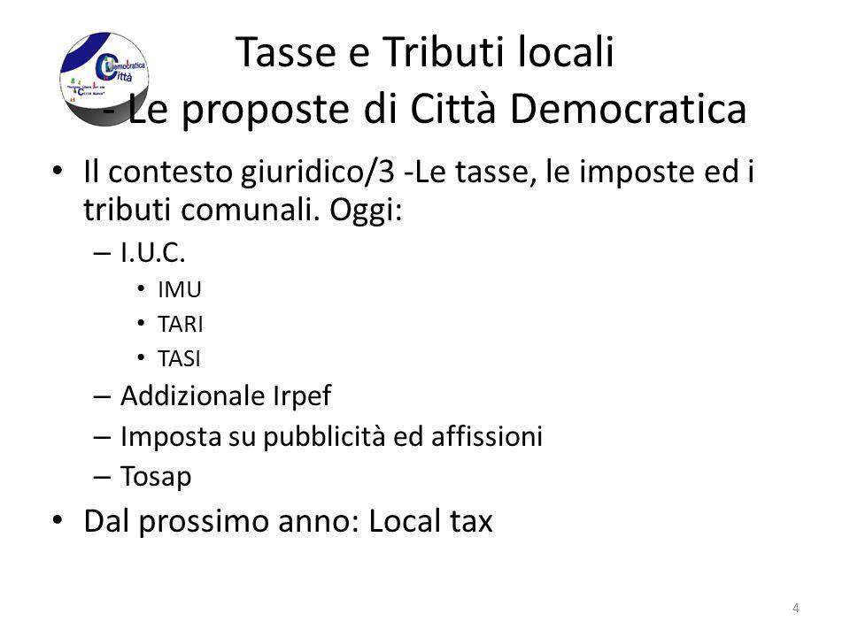 Tasse e Tributi locali - Le proposte di Città Democratica Il contesto giuridico/3 -Le tasse, le imposte ed i tributi comunali. Oggi: – I.U.C. IMU TARI