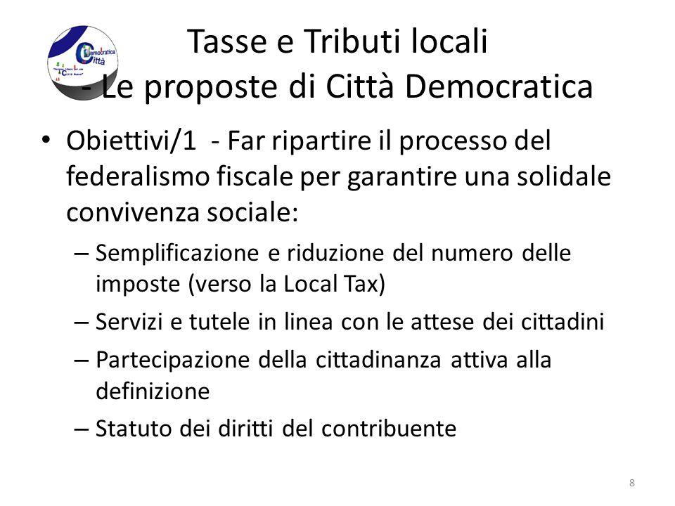 Tasse e Tributi locali - Le proposte di Città Democratica Obiettivi/1 - Far ripartire il processo del federalismo fiscale per garantire una solidale c