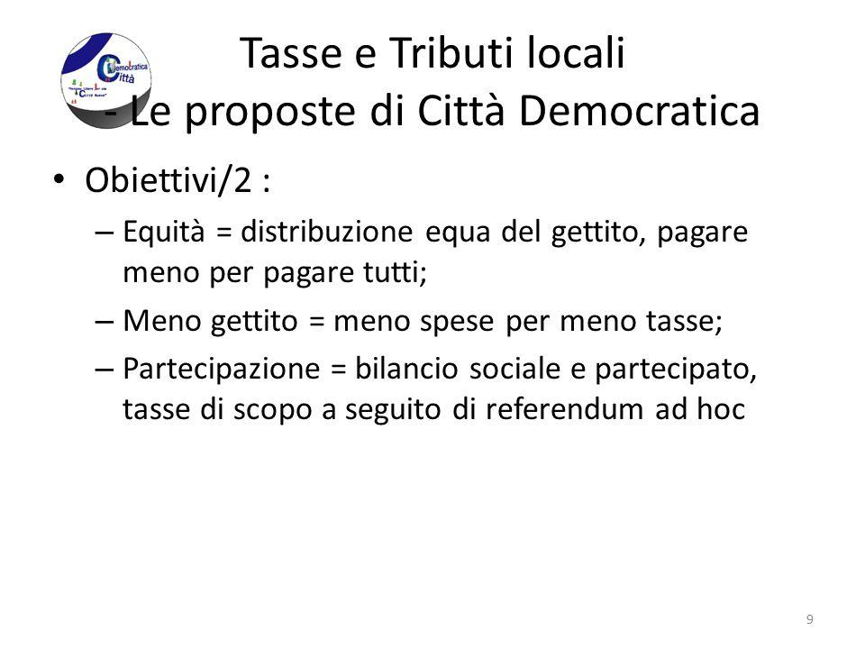 Tasse e Tributi locali - Le proposte di Città Democratica Obiettivi/2 : – Equità = distribuzione equa del gettito, pagare meno per pagare tutti; – Men