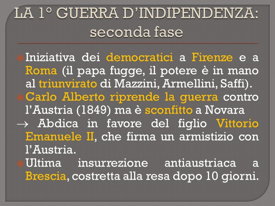  Iniziativa dei democratici a Firenze e a Roma (il papa fugge, il potere è in mano al triunvirato di Mazzini, Armellini, Saffi).  Carlo Alberto ripr