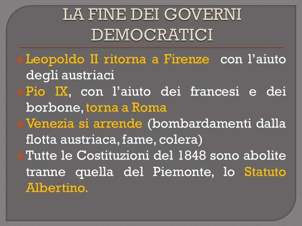  Leopoldo II ritorna a Firenze con l'aiuto degli austriaci  Pio IX, con l'aiuto dei francesi e dei borbone, torna a Roma  Venezia si arrende (bomba