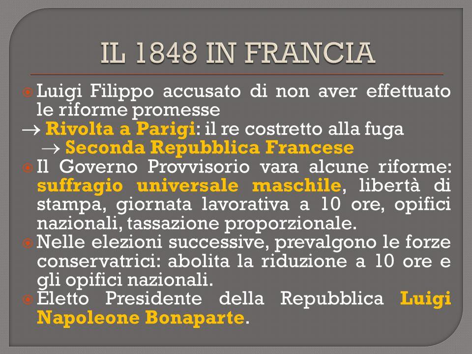  Luigi Filippo accusato di non aver effettuato le riforme promesse  Rivolta a Parigi: il re costretto alla fuga  Seconda Repubblica Francese  Il G