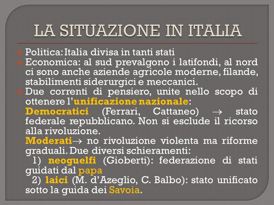  Politica: Italia divisa in tanti stati  Economica: al sud prevalgono i latifondi, al nord ci sono anche aziende agricole moderne, filande, stabilim