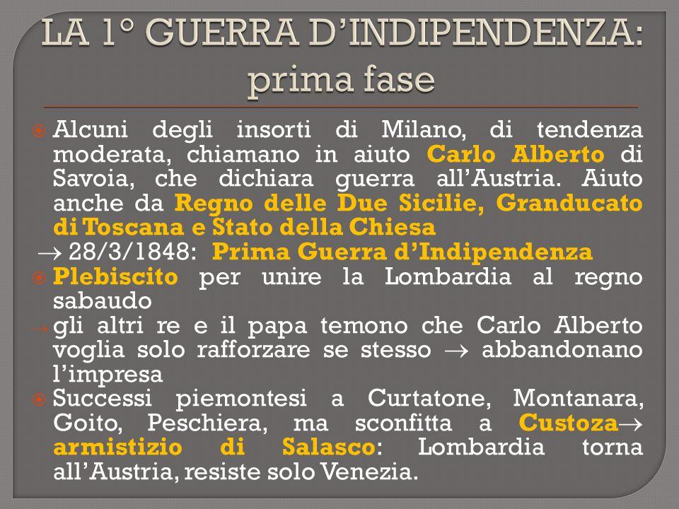  Alcuni degli insorti di Milano, di tendenza moderata, chiamano in aiuto Carlo Alberto di Savoia, che dichiara guerra all'Austria. Aiuto anche da Reg