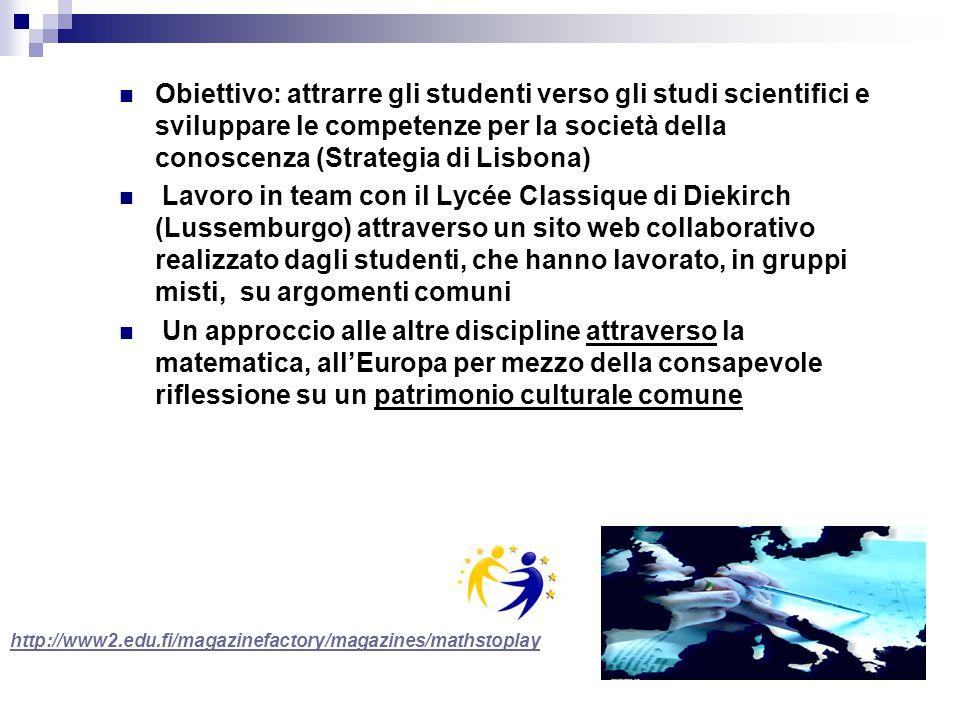 Obiettivo: attrarre gli studenti verso gli studi scientifici e sviluppare le competenze per la società della conoscenza (Strategia di Lisbona) Lavoro