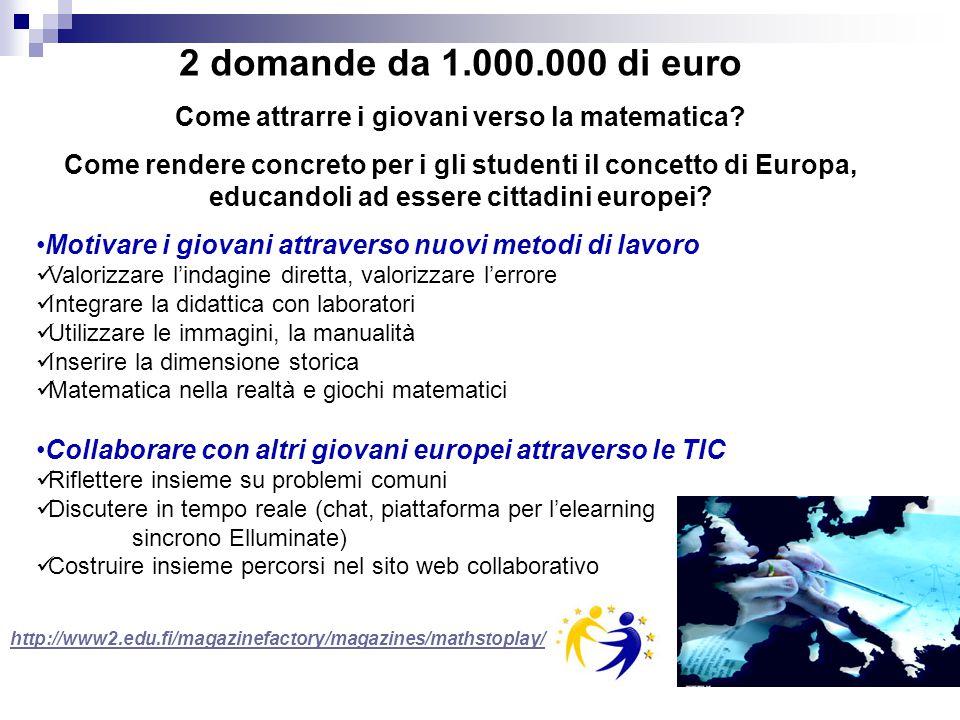 http://www2.edu.fi/magazinefactory/magazines/mathstoplay/ 2 domande da 1.000.000 di euro Come attrarre i giovani verso la matematica? Come rendere con