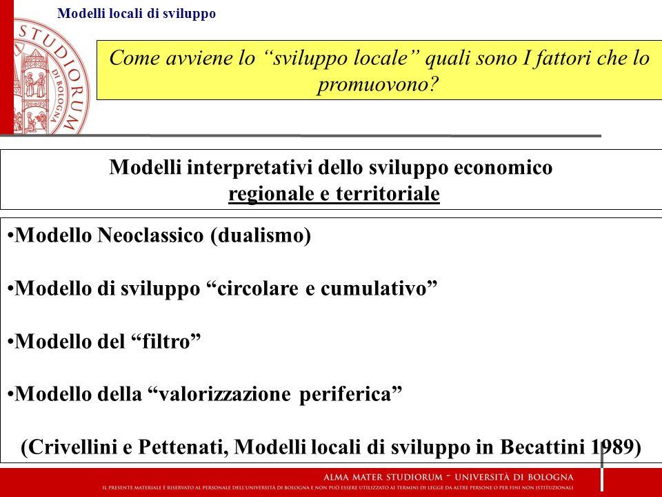"""Modelli locali di sviluppo Come avviene lo """"sviluppo locale"""" quali sono I fattori che lo promuovono? Modelli interpretativi dello sviluppo economico r"""