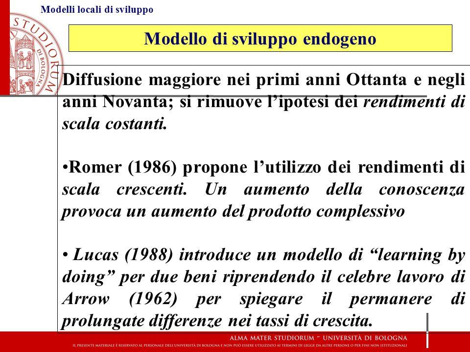 Modelli locali di sviluppo Diffusione maggiore nei primi anni Ottanta e negli anni Novanta; si rimuove l'ipotesi dei rendimenti di scala costanti. Rom