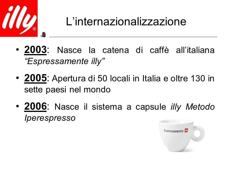 """L'internazionalizzazione 2003: Nasce la catena di caffè all'italiana """"Espressamente illy"""" 2005: Apertura di 50 locali in Italia e oltre 130 in sette p"""