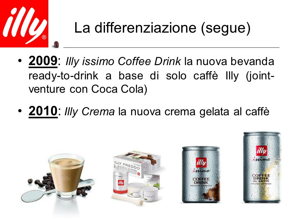 La differenziazione (segue) 2009: Illy issimo Coffee Drink la nuova bevanda ready-to-drink a base di solo caffè Illy (joint- venture con Coca Cola) 20