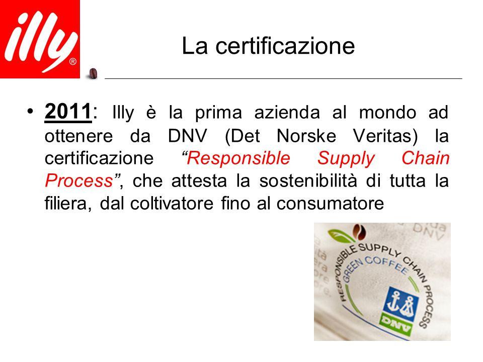 """La certificazione 2011: Illy è la prima azienda al mondo ad ottenere da DNV (Det Norske Veritas) la certificazione """"Responsible Supply Chain Process"""","""