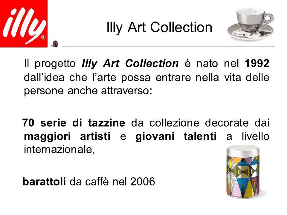 Illy Art Collection Il progetto Illy Art Collection è nato nel 1992 dall'idea che l'arte possa entrare nella vita delle persone anche attraverso: 70 s