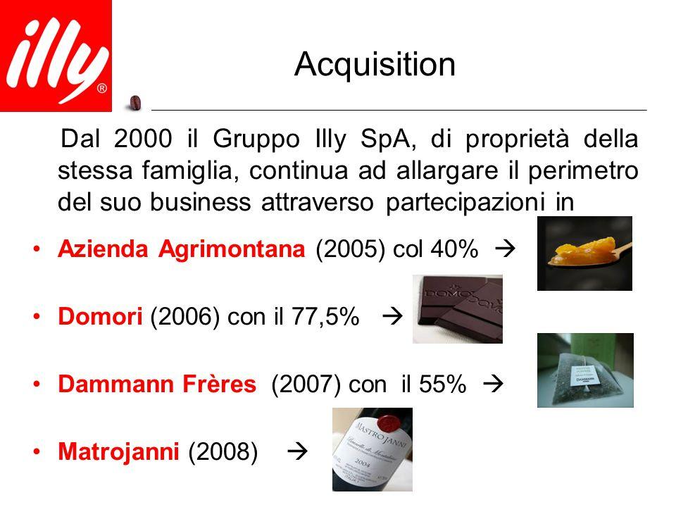 Acquisition Dal 2000 il Gruppo Illy SpA, di proprietà della stessa famiglia, continua ad allargare il perimetro del suo business attraverso partecipaz