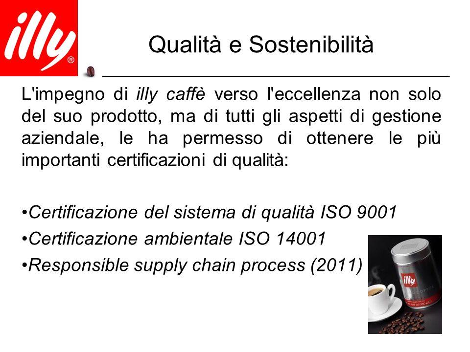 Qualità e Sostenibilità L'impegno di illy caffè verso l'eccellenza non solo del suo prodotto, ma di tutti gli aspetti di gestione aziendale, le ha per