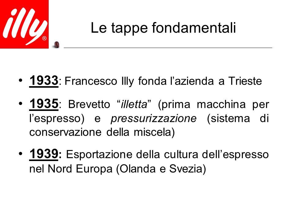 """Le tappe fondamentali 1933 : Francesco Illy fonda l'azienda a Trieste 1935 : Brevetto """"illetta"""" (prima macchina per l'espresso) e pressurizzazione (si"""