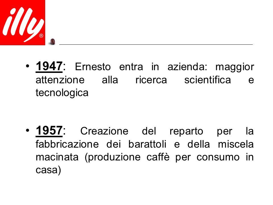 1965: Inaugurata la sede di Via Flavia a Trieste l'unico stabilimento produttivo dell'azienda 1974: Debutto sul mercato delle prime cialde (Easy Serving Espresso) per preparare anche in ufficio e a casa un espresso con la stessa qualità e aroma del bar