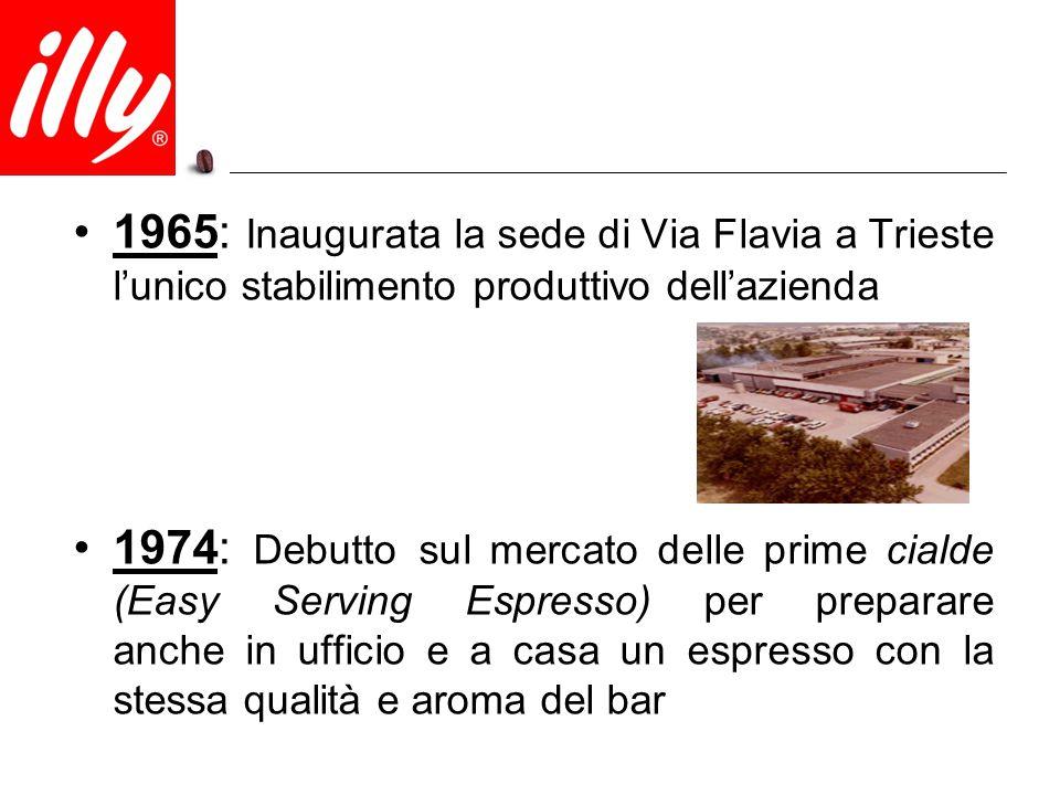1965: Inaugurata la sede di Via Flavia a Trieste l'unico stabilimento produttivo dell'azienda 1974: Debutto sul mercato delle prime cialde (Easy Servi