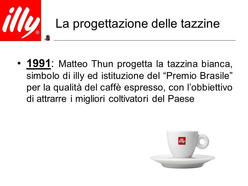 """1991: Matteo Thun progetta la tazzina bianca, simbolo di illy ed istituzione del """"Premio Brasile"""" per la qualità del caffè espresso, con l'obbiettivo"""