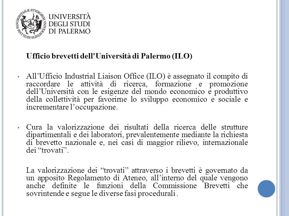 Ufficio brevetti dell'Università di Palermo (ILO) All'Ufficio Industrial Liaison Office (ILO) è assegnato il compito di raccordare le attività di rice