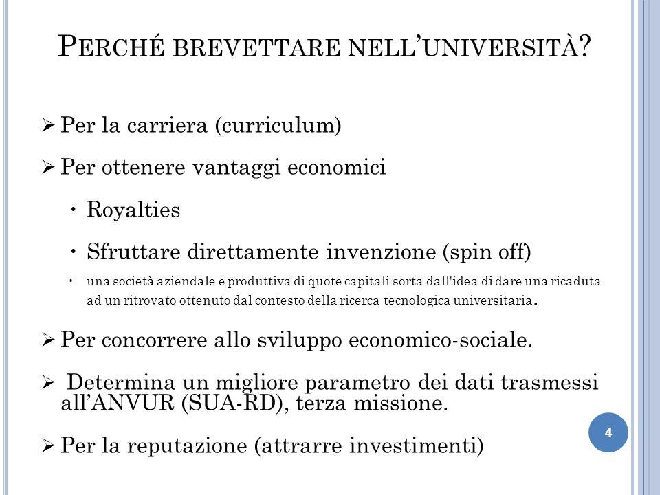 4 P ERCHÉ BREVETTARE NELL ' UNIVERSITÀ ?  Per la carriera (curriculum)  Per ottenere vantaggi economici Royalties Sfruttare direttamente invenzione