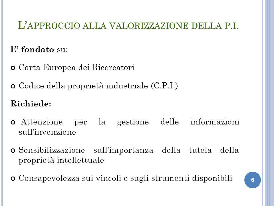 6 L' APPROCCIO ALLA VALORIZZAZIONE DELLA P. I. E' fondato su: Carta Europea dei Ricercatori Codice della proprietà industriale (C.P.I.) Richiede: Atte
