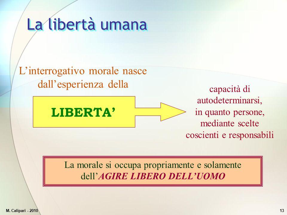 M. Calipari - 201013 La libertà umana L'interrogativo morale nasce dall'esperienza della capacità di autodeterminarsi, in quanto persone, mediante sce
