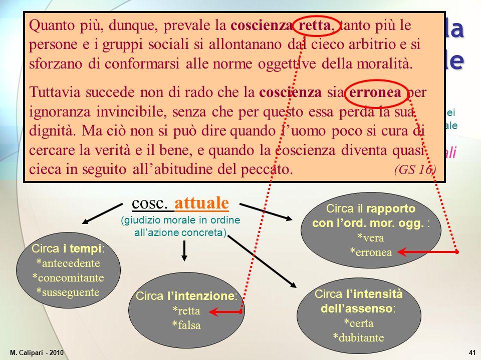 M. Calipari - 201041 Classificazione della coscienza morale cosc. potenziale (livello di fondo) cosc. attuale (giudizio morale in ordine all'azione co