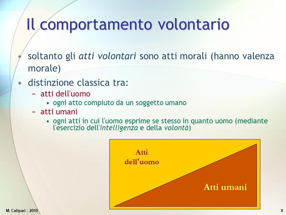 M. Calipari - 20108 Il comportamento volontario soltanto gli atti volontari sono atti morali (hanno valenza morale) distinzione classica tra: −atti de