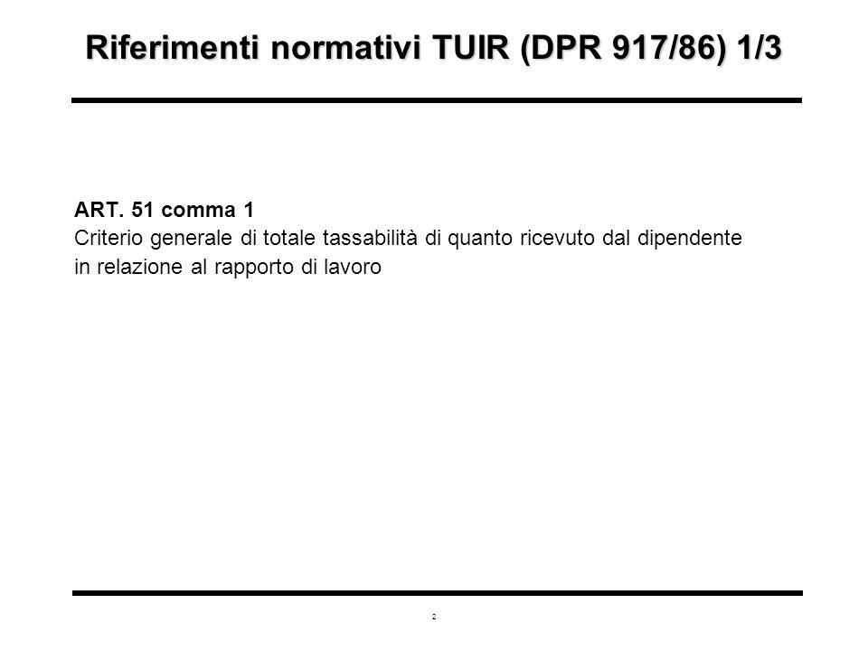 2 Riferimenti normativi TUIR (DPR 917/86) 1/3 ART.