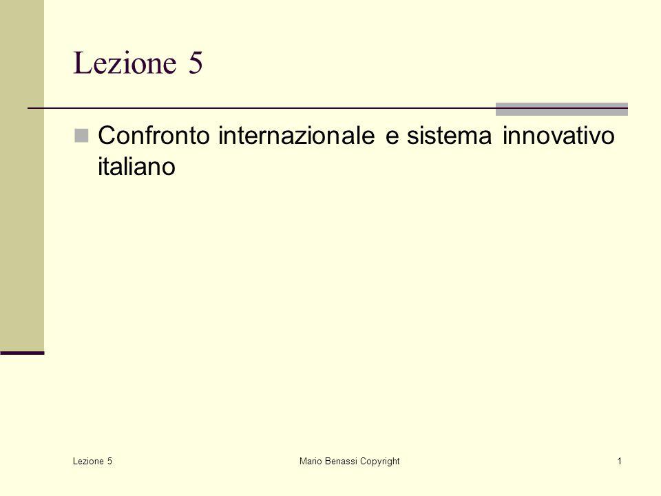 Lezione 5 Mario Benassi Copyright22 Note sul sistema Italia industrializzazione recente mancanza di una tradizione di R&D industriale condizioni di sostanziale follower tecnologico all'inizio degli anni '50 forte sviluppo negli anni '60 e '70 sostanziale dualismo in termini di sviluppo forte propensione alla esportazione ma bassa propensione alla internazionalizzazione produttiva