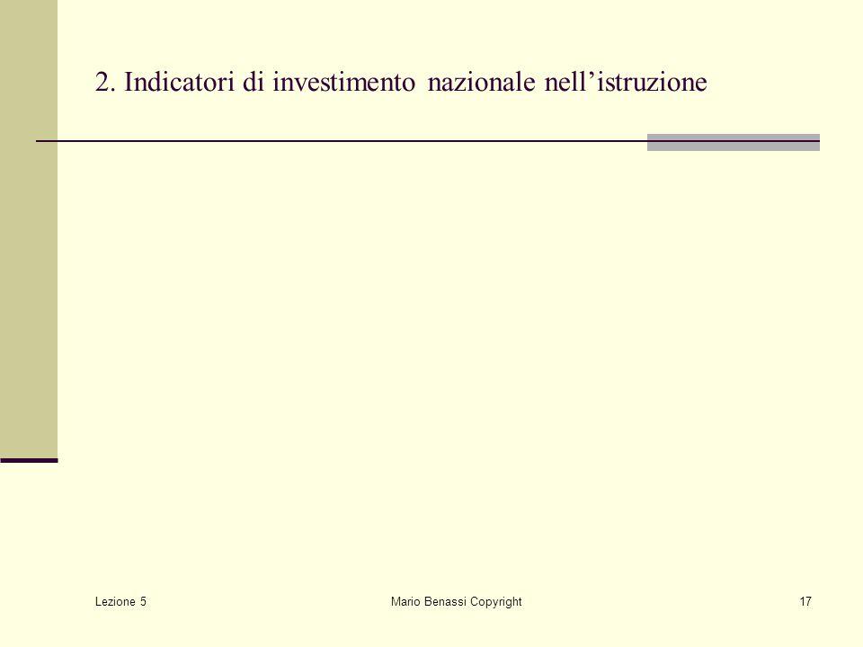Lezione 5 Mario Benassi Copyright17 2. Indicatori di investimento nazionale nell'istruzione