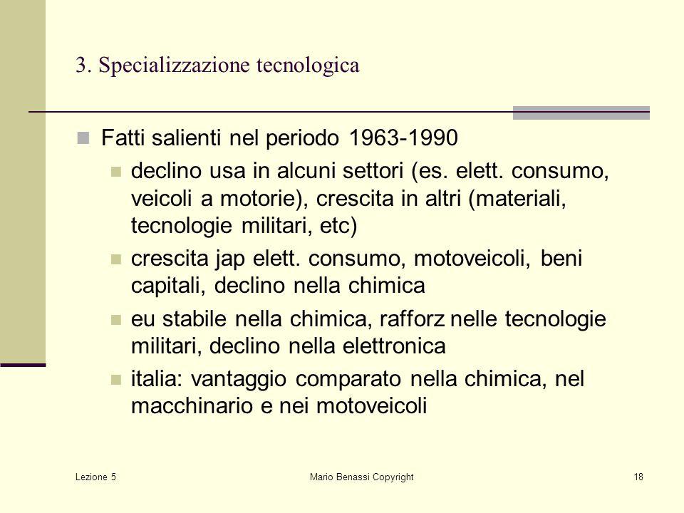 Lezione 5 Mario Benassi Copyright18 3. Specializzazione tecnologica Fatti salienti nel periodo 1963-1990 declino usa in alcuni settori (es. elett. con