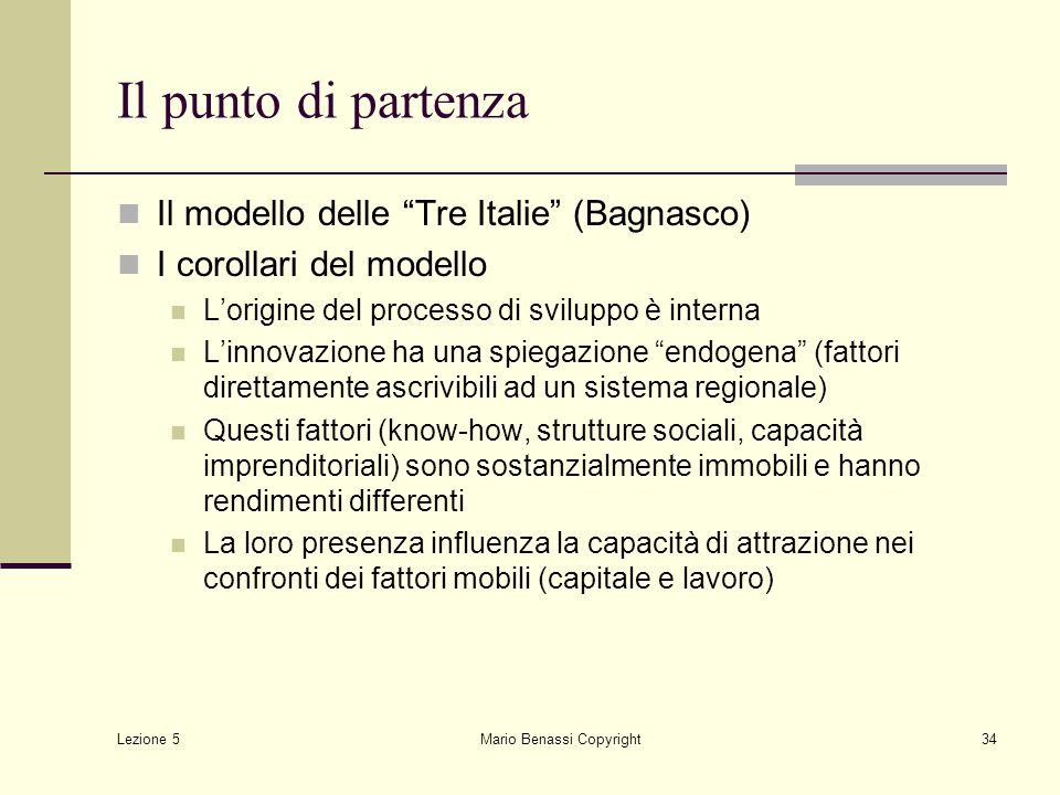 """Lezione 5 Mario Benassi Copyright34 Il punto di partenza Il modello delle """"Tre Italie"""" (Bagnasco) I corollari del modello L'origine del processo di sv"""
