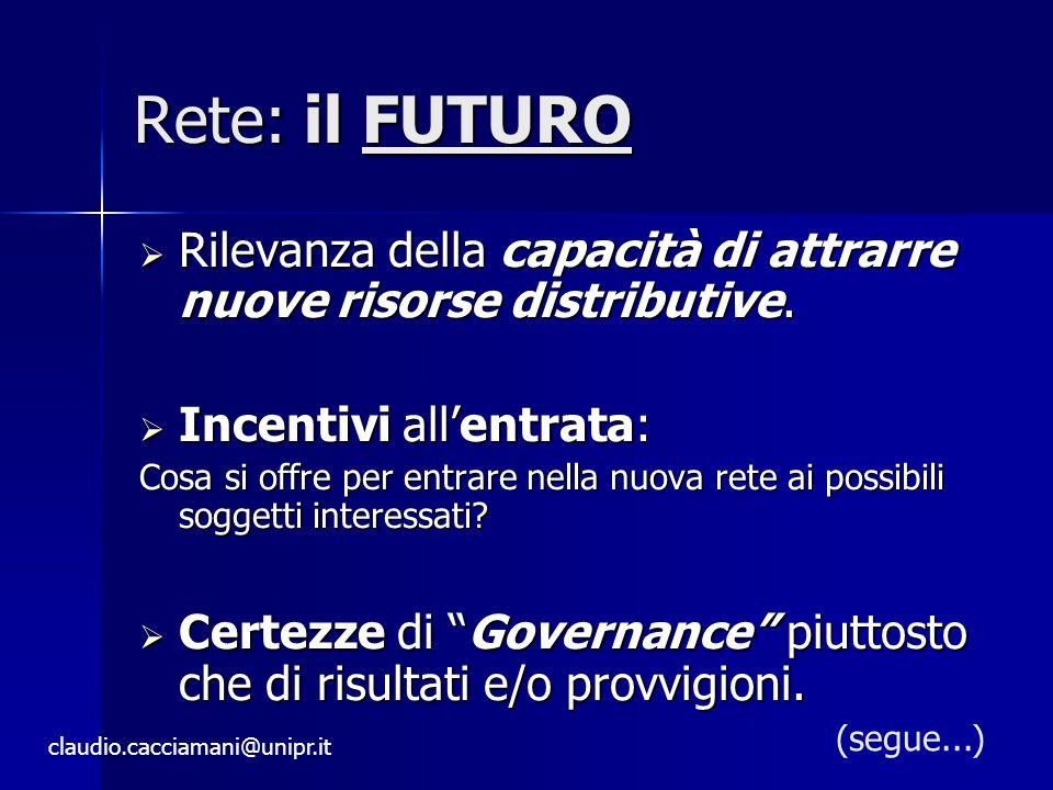 Rete: il FUTURO  Rilevanza della capacità di attrarre nuove risorse distributive.