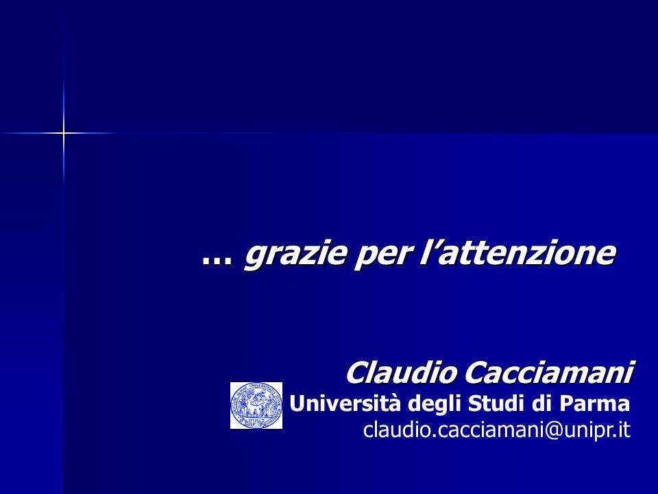 … grazie per l'attenzione Claudio Cacciamani Università degli Studi di Parma claudio.cacciamani@unipr.it
