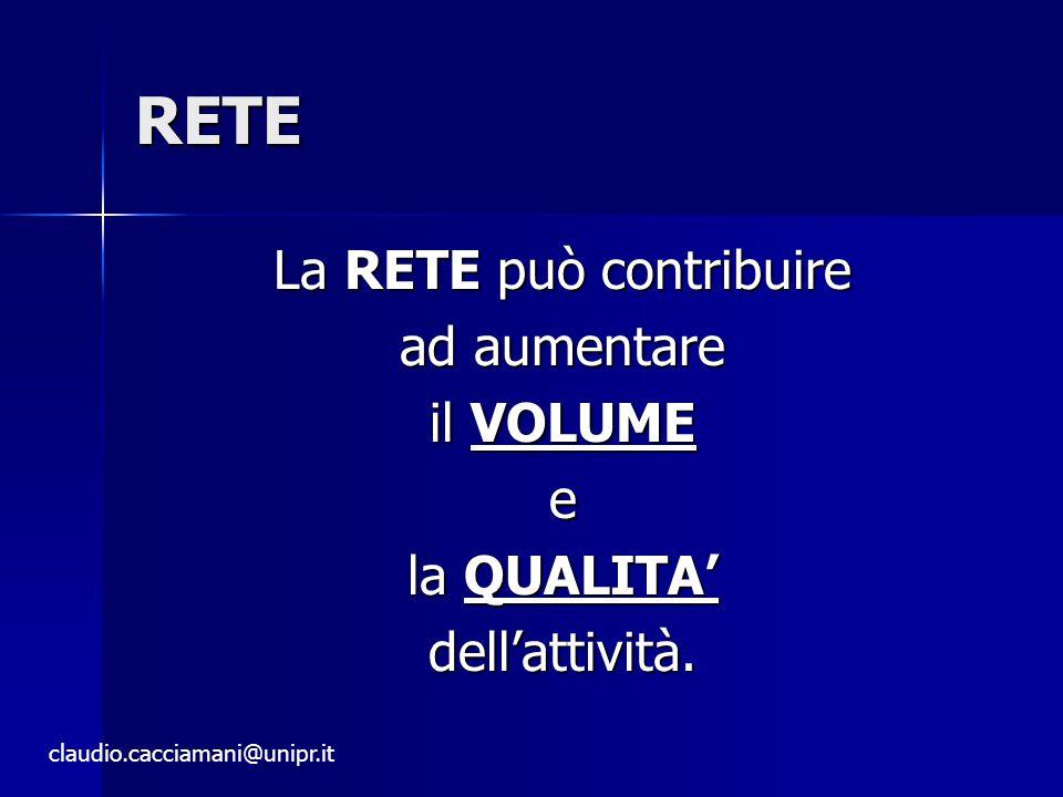 RETE La RETE può contribuire ad aumentare il VOLUME e la QUALITA' dell'attività.