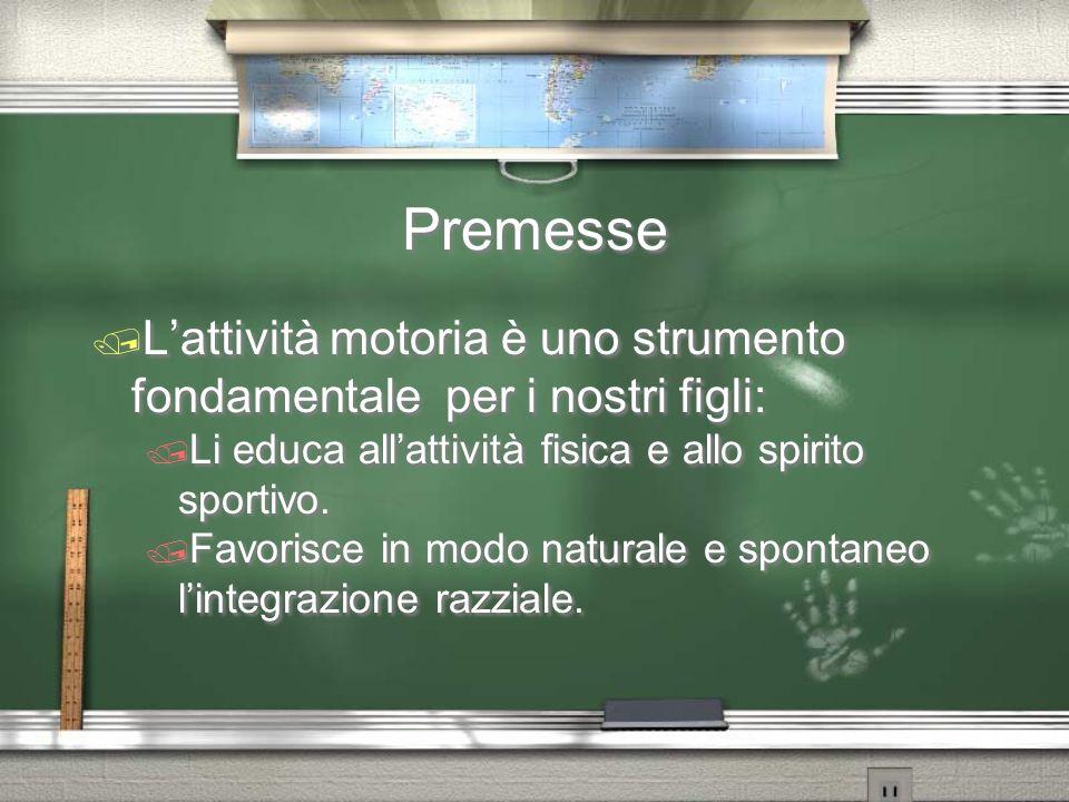 Premesse / L'attività motoria è uno strumento fondamentale per i nostri figli: / Li educa all'attività fisica e allo spirito sportivo. / Favorisce in