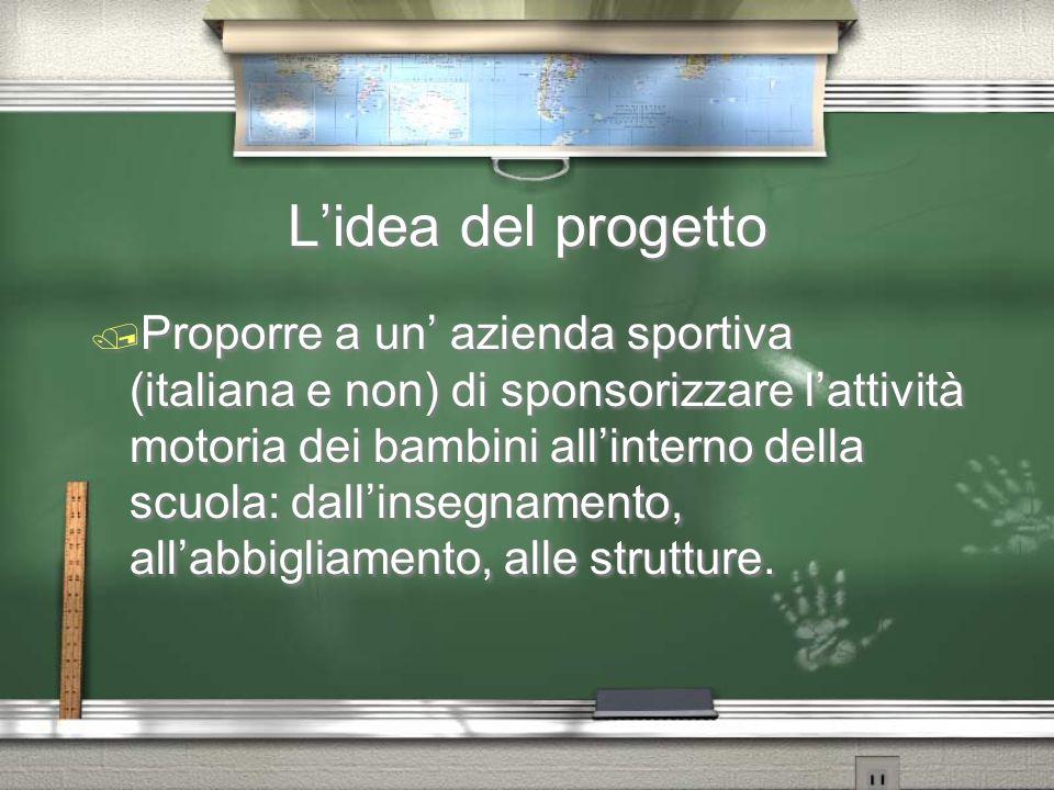 L'idea del progetto / Proporre a un' azienda sportiva (italiana e non) di sponsorizzare l'attività motoria dei bambini all'interno della scuola: dall'